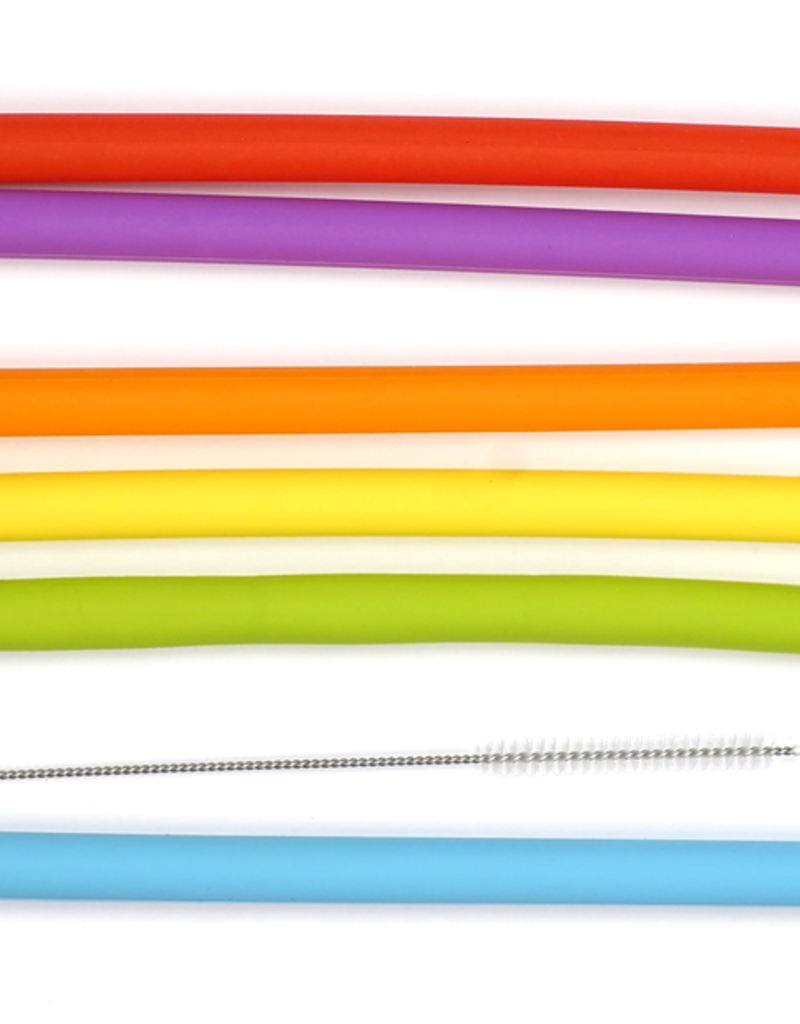RSVP INTERNATIONAL INC SILI-LG  special order RSVP Silicone Straws Smoothie Different Colors + Cleaning brush