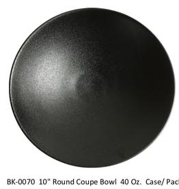 "UNIVERSAL ENTERPRISES, INC. 10"" round coupe Bowl 40 oz. Black 12/cs"