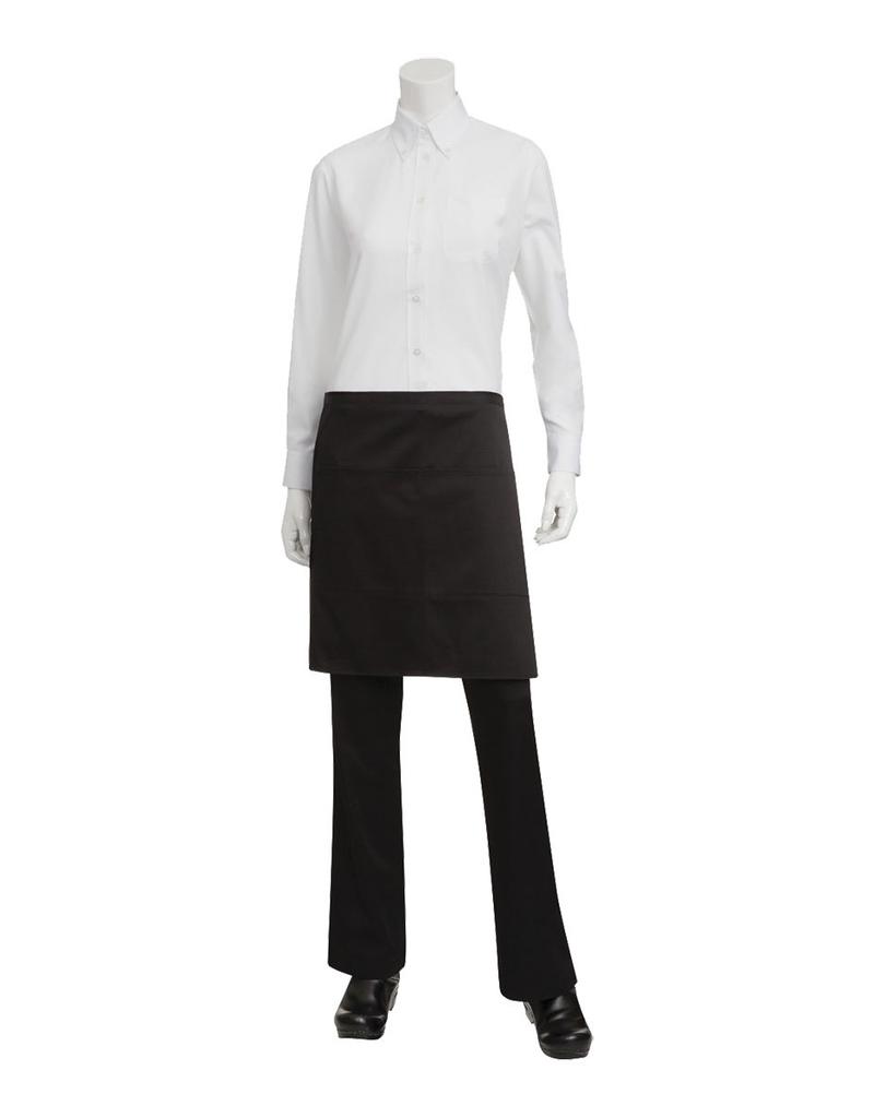 Chef Works F28BLKO Chef Works Half Bistro Apron Black 65% Poly/35% Cotton