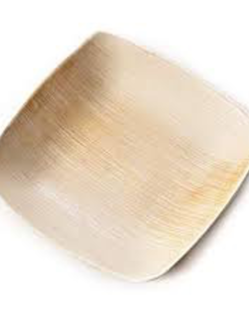 """LW5S Leafware 5"""" Disposable Palm Leaf Square Plate 25 ct 4 cs"""