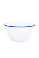 "CGS INT. V23BLU Large Salad Bowl Solid White w/ Blue Rim  10.75"" diameter"