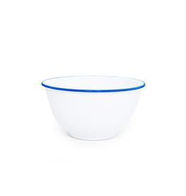 "CGS INT. V23BLU Large 10.5""  Salad Bowl White w/ Blue Rim"