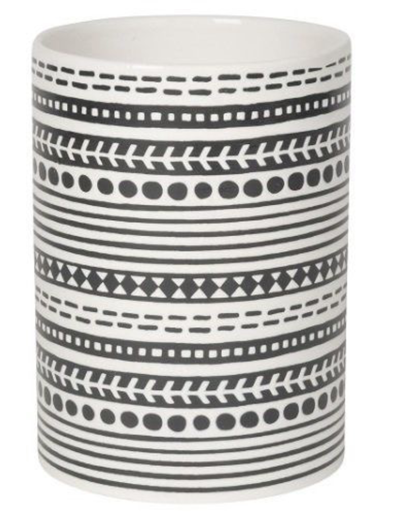 NOW DESIGNS 5060008 special order NOW DESGIN Utensil Crock Canyon White With Black Stripes Design