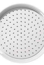OGGI Corporation OGGI Stainless Steal Rubbergrip Tray Round White with Black Dots