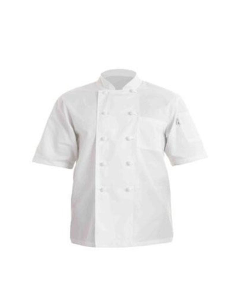 Chef Works PCSSWHTM Chef Works Volnay Basic short sleeve Chef Coat Medium 65% Poly/35% Cotton