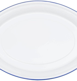 CGS INT. V61BLU special order Oval Platter Solid White w/ Blue Rim