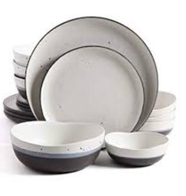 GIBSON 16pc Dinnerware Set White Speckled w/ Black and Blue
