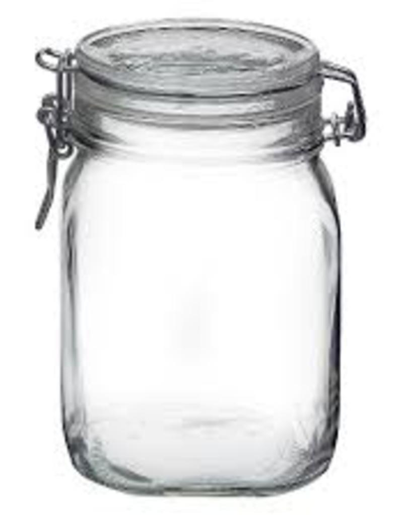 BORMIOLI ROCCO GLASS Bormioli Clear Fido Top Jar  1 L 33.75 oz clamp
