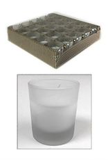 GENERAL WAX & CANDLE 2726FC General Wax Filled Frosted Votive Candle (Frosted Glass)