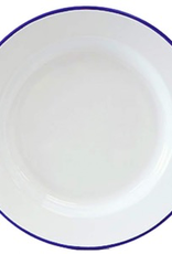 CGS INT. Dinner 10.5 Plate Solid White w/ Blue Rim