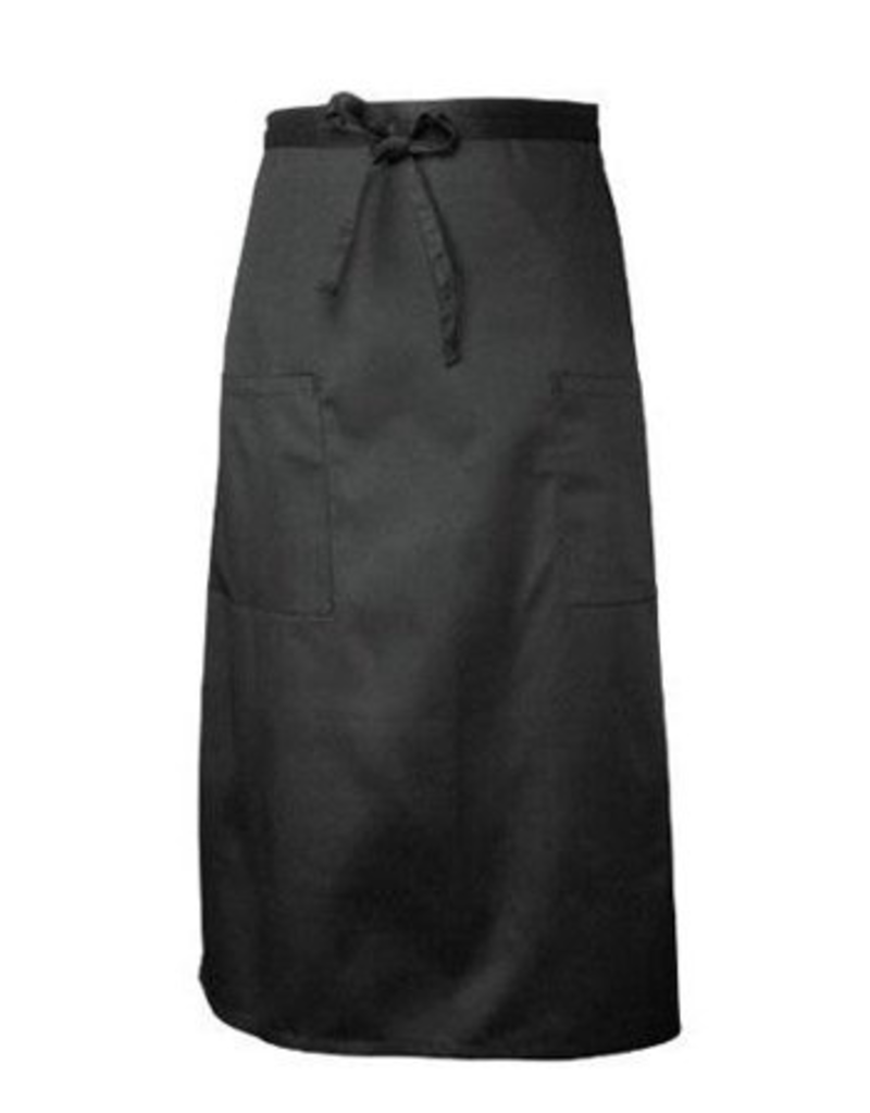 Chef Works 122ABLK0 Chef Works Two Pocket Bistro Apron Black 65% Poly/35% Cotton