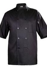 Chef Works BLSSBLKM Chef Works Black Chambery Basic short sleeeve Chef Coat Medium 65% Poly/35% Cotton