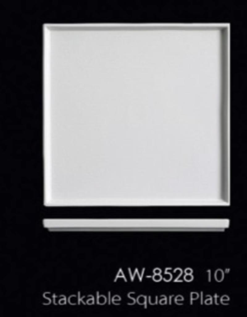 "UNIVERSAL ENTERPRISES, INC. AW-8528 10"" Stackable Square Plate 12/cs"