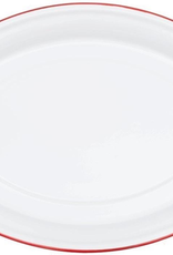 CGS INT. Oval Platter Solid White w/ Red Rim