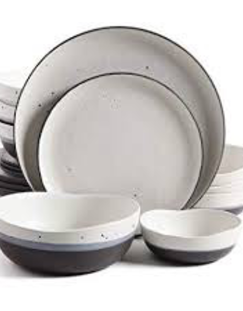 GIBSON 107223.16 16pc Dinnerware Set White Speckled w/ Black and Blue