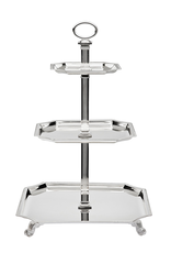 GODINGER 9703 no ETA GODINGER 3 Tier Silver Square Tray Server