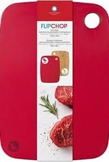 Architec FC15W ARCHITEC Flipchop White Cutting Board with Poly Side and Bamboo Side  Red
