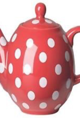 NOW DESIGNS LP67650 special order NOW DESIGN Ceramic Teapot Globe 6 Cup Red with White Spots
