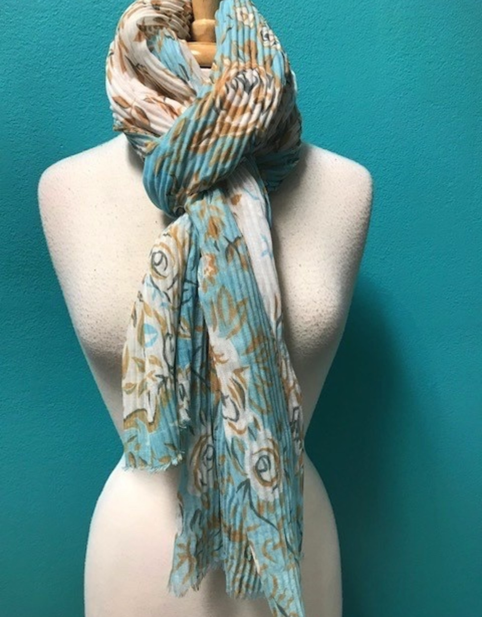Scarf Pleated Floral Print Scarf