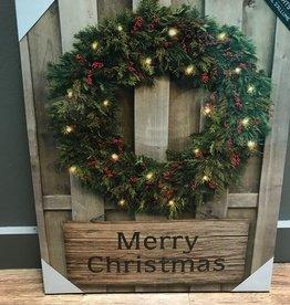 Decor Merry Christmas Wreath LED Sign