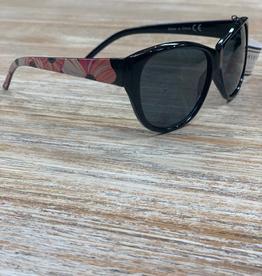 Sunglasses Sunglasses w/ Case, Black w/Flower