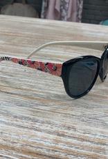 Sunglasses Sunglasses w/ Case, White w/ Flowers