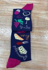 Socks Women's Crew Socks- Wine & Cheese Pairing