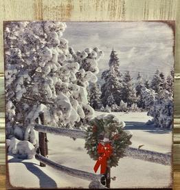 Decor Snowy Wreath Fence Light Up