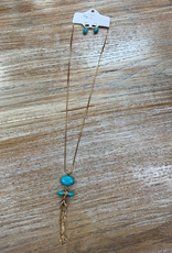 Jewelry Gold Turq Tassel Necklace