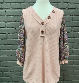 Long Sleeve Thermal Waffle Top w Paisley Sleeves