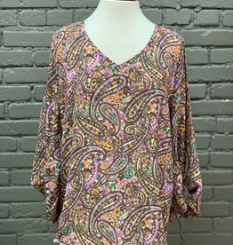 Long Sleeve Paisley Top w/ Bubble Sleeves