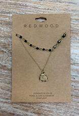 Jewelry Gold Necklace w/ Black Beads