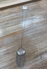 Jewelry Long Silver Circle Tassel Necklace