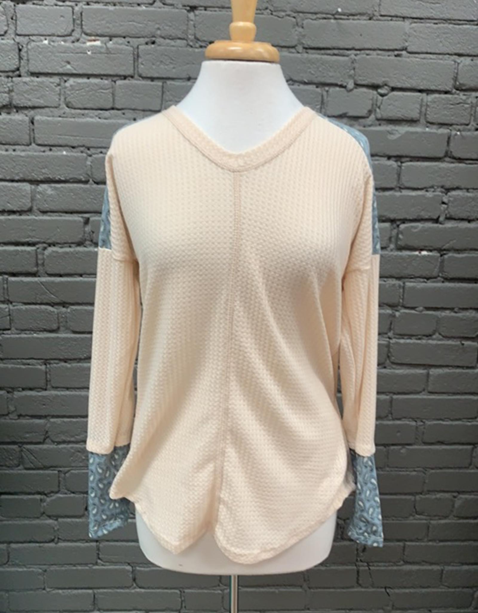 Long Sleeve Sabrina Waffle Knit LS Top