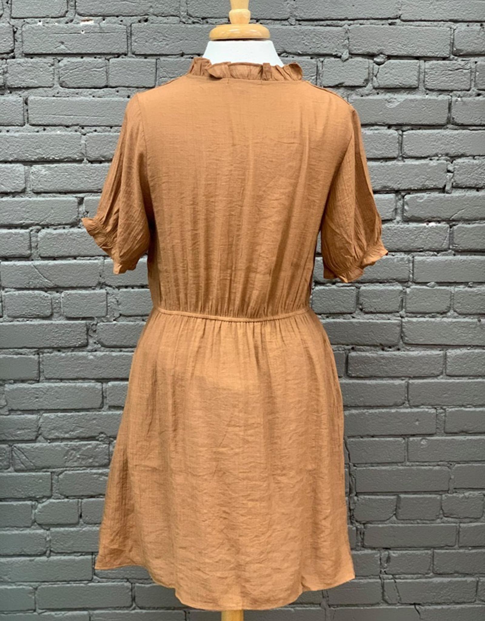 Dress Tia Short Sleeve w/ Ruffle Neck Dress