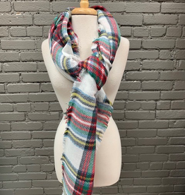 Scarf White, Red, Green Blanket Scarf