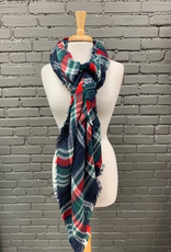 Scarf Navy, Red, Green Blanket Scarf