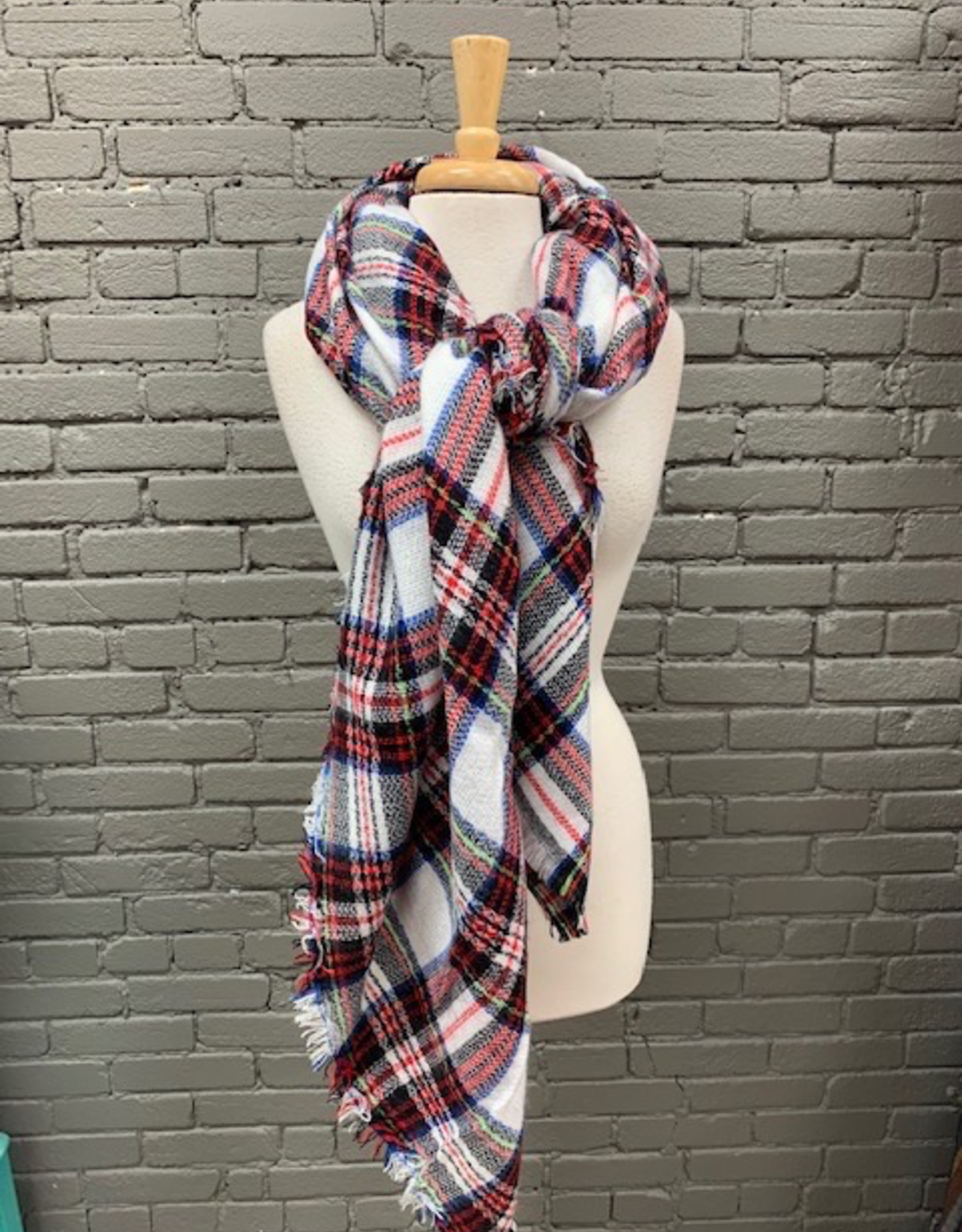 Scarf White Blue Red Blk Blanket Scarf