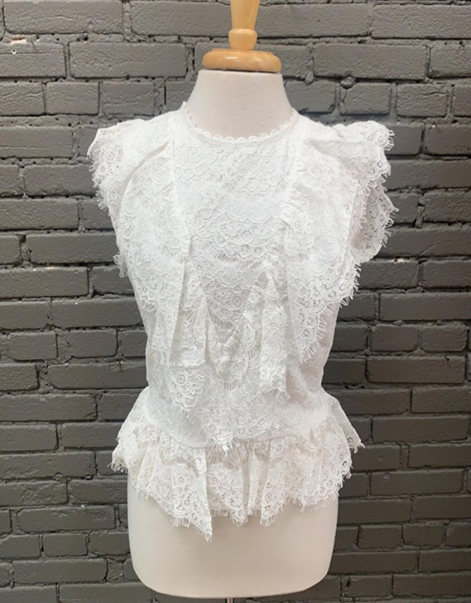 Blouse Patty Lace Shirt w/ Ruffle Sleeves
