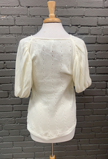 Blouse Mia Knit Top w/ Puff Sleeves