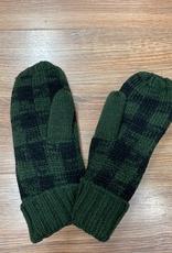 Mittens Green, Black Plaid Mittens