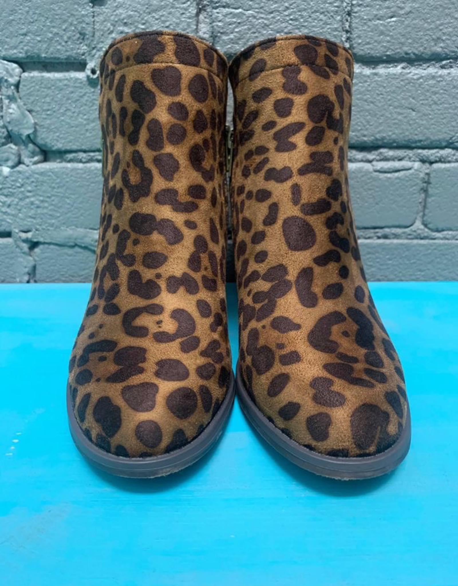 Shoes Leopard Booties w/ Side Zippers