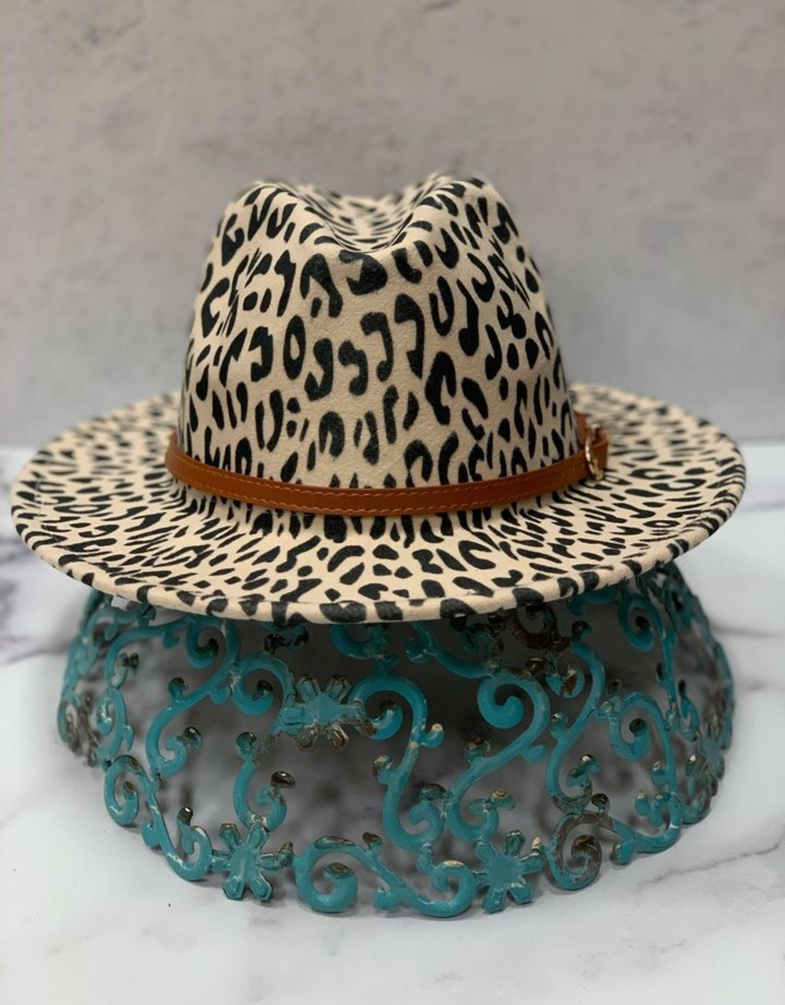 Hat Laurie Leopard Fedora w/ Brown Band