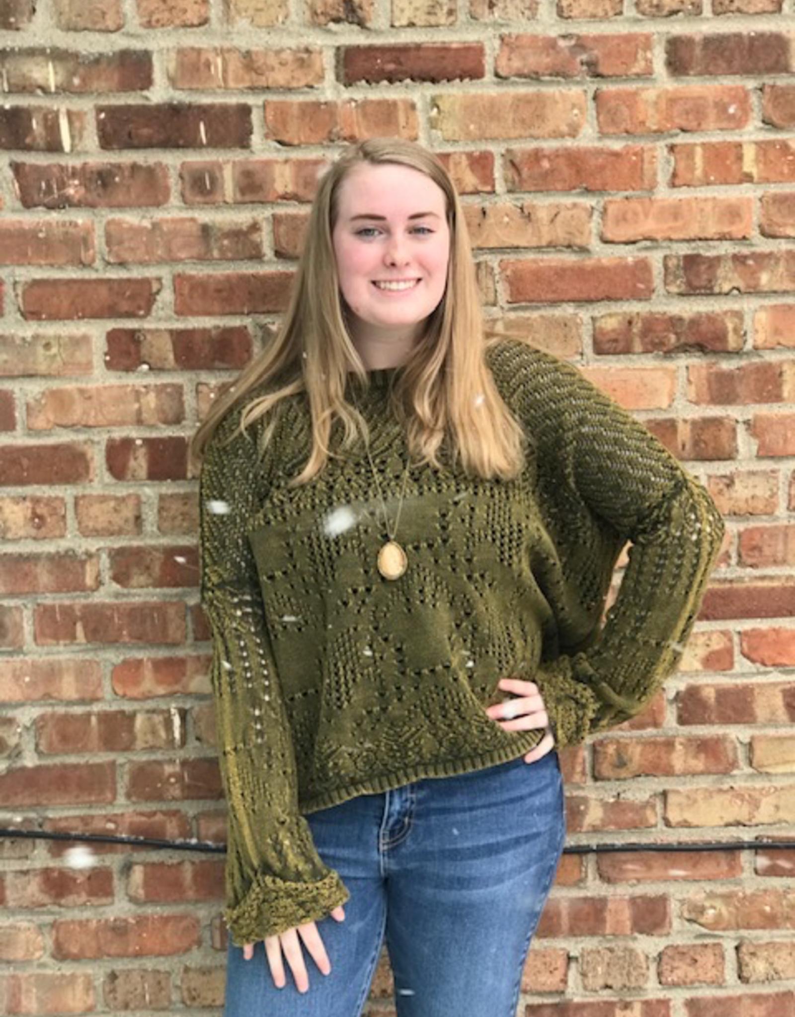 Sweater Cody Olive Cuff Sweater