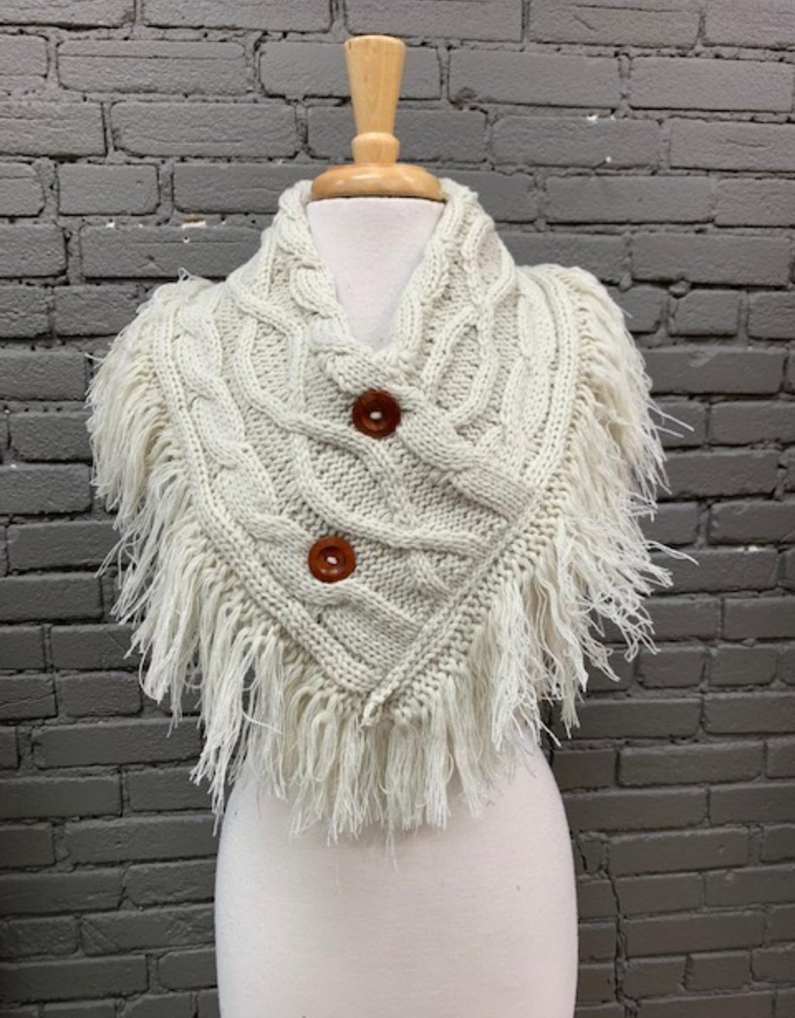 Scarf Knit Neck Warmer w/ Fringe