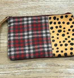 Bag Plaid Cheetah Zip Pouch