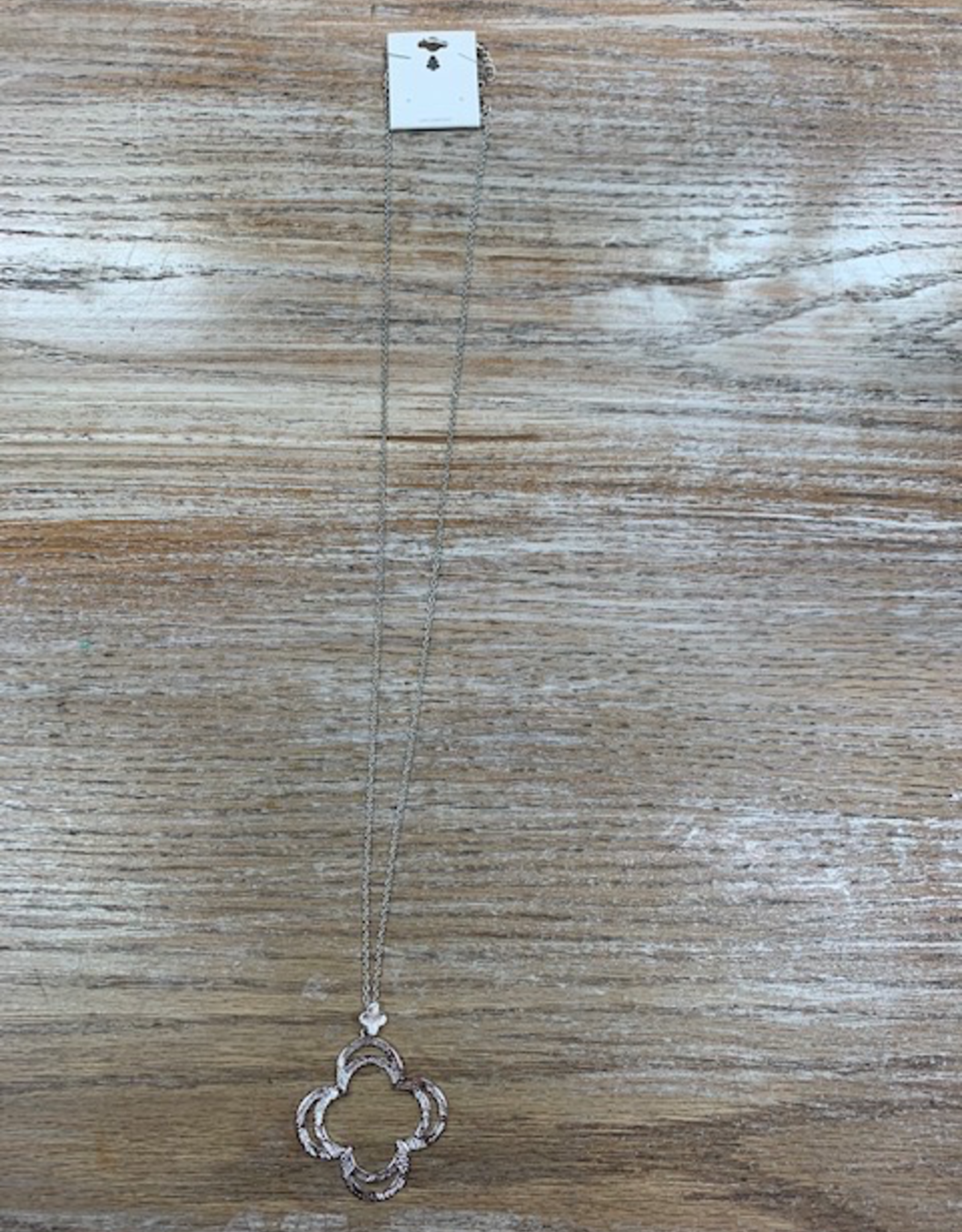 Jewelry Long Silver Clover Necklace