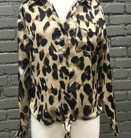 Long Sleeve Sophia Satin Leopard Tie Front Long Sleeve