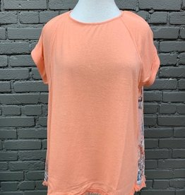 Shirt Polly Lace Back Peach Top