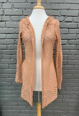 Cardigan Harlow Open Crochet Hooded Cardi
